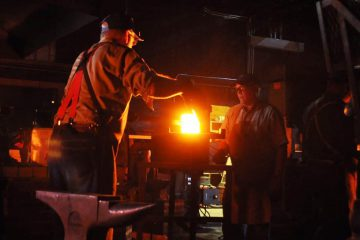 Around the forge at night