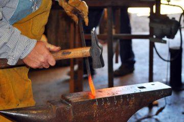 Hammering hot steel